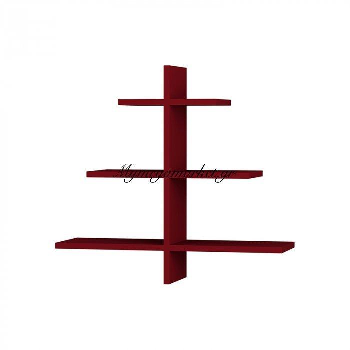 Ραφιέρα τοίχου Agac χρώμα σκούρο κόκκινο 65x22x70εκ | Mymegamarket.gr