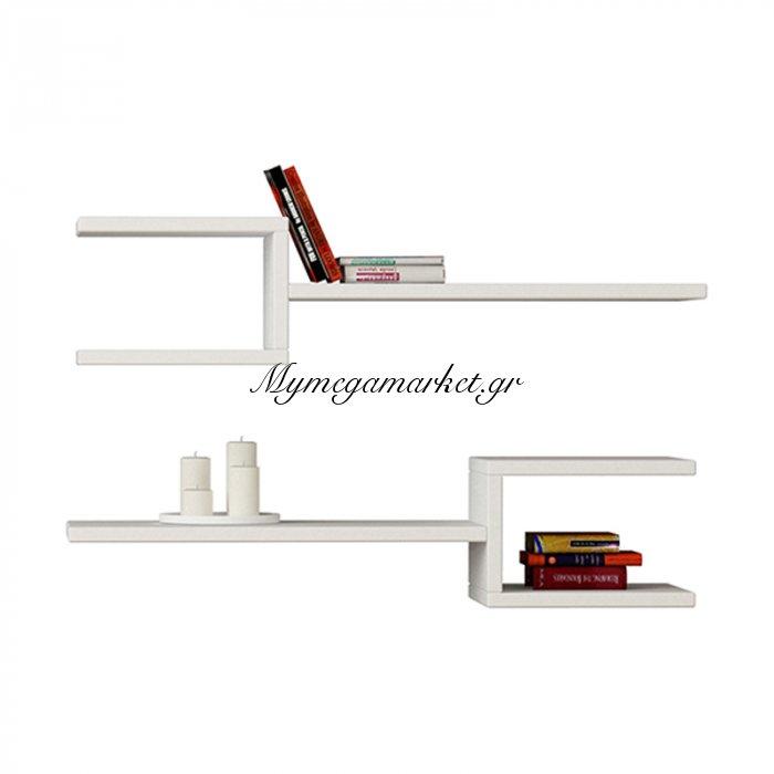 Ραφιέρα τοίχου Fork δυο τεμαχιών χρώμα λευκό 75x20x18εκ | Mymegamarket.gr
