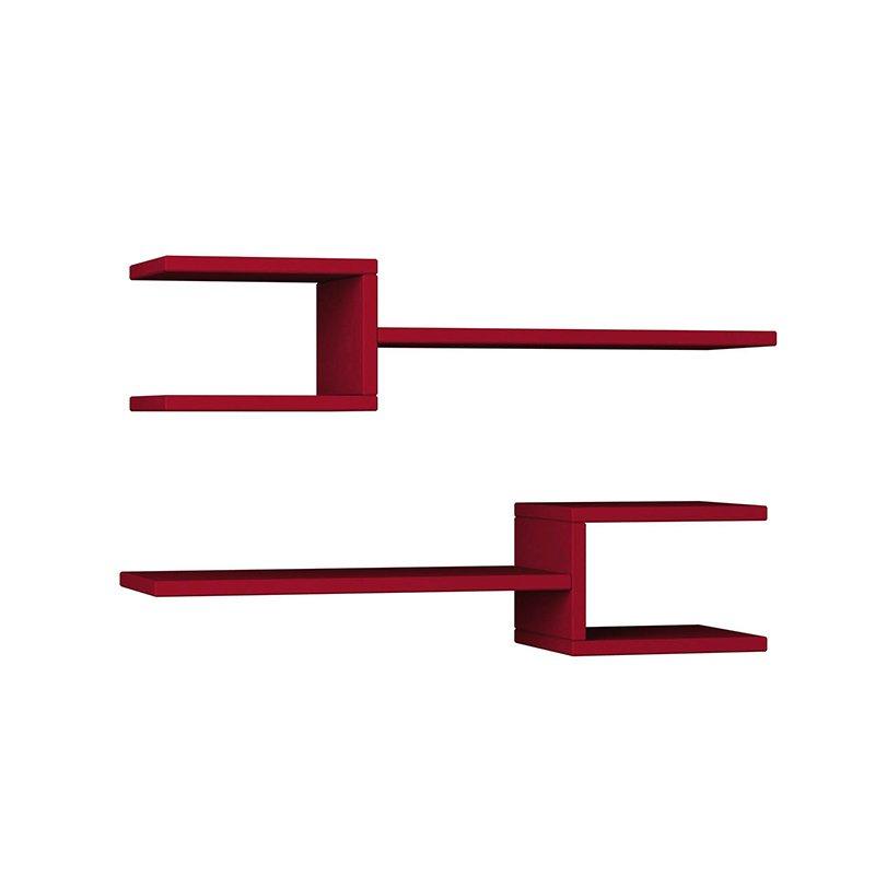 Ραφιέρα τοίχου Fork δύο τεμαχίων χρώμα σκούρο κόκκινο 75x20x18εκ