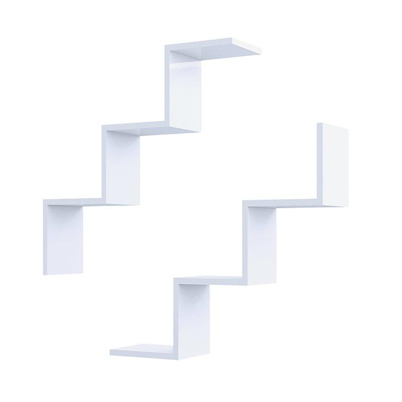 Ραφιέρα τοίχου Iris λευκή με 2 ράφια 71,4x19,5x71,4