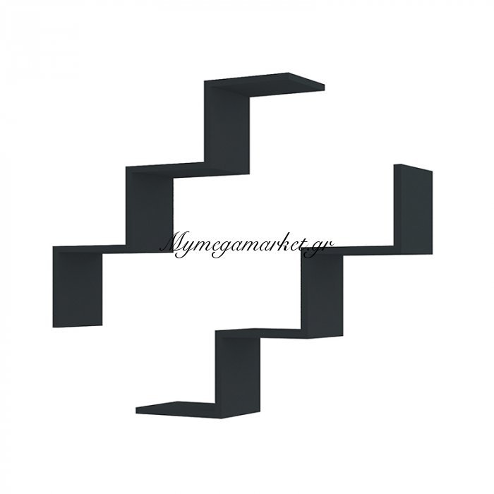 Ραφιέρα τοίχου Iris μαύρη με 2 ράφια 71,4x71,74x19,5 | Mymegamarket.gr