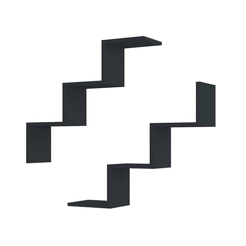 Ραφιέρα τοίχου Iris μαύρη με 2 ράφια 71,4x71,74x19,5