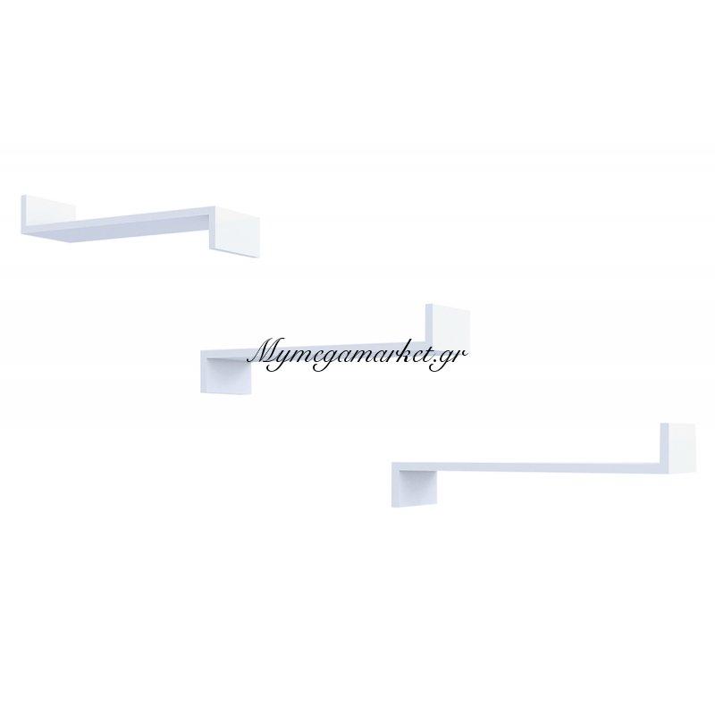 Ραφιέρα τοίχου Ixia λευκή με 3 ράφια 60x9,8x19,5