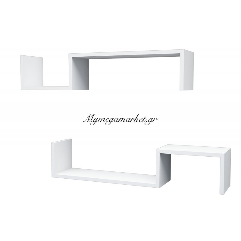Ραφιέρα τοίχου Liatris λευκή 2 ράφια 96x19,5x19,5