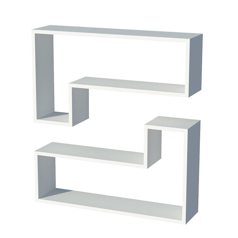 Ραφιέρα τοίχου Ozy λευκή με 2 ράφια 83,6x43,6x19,5