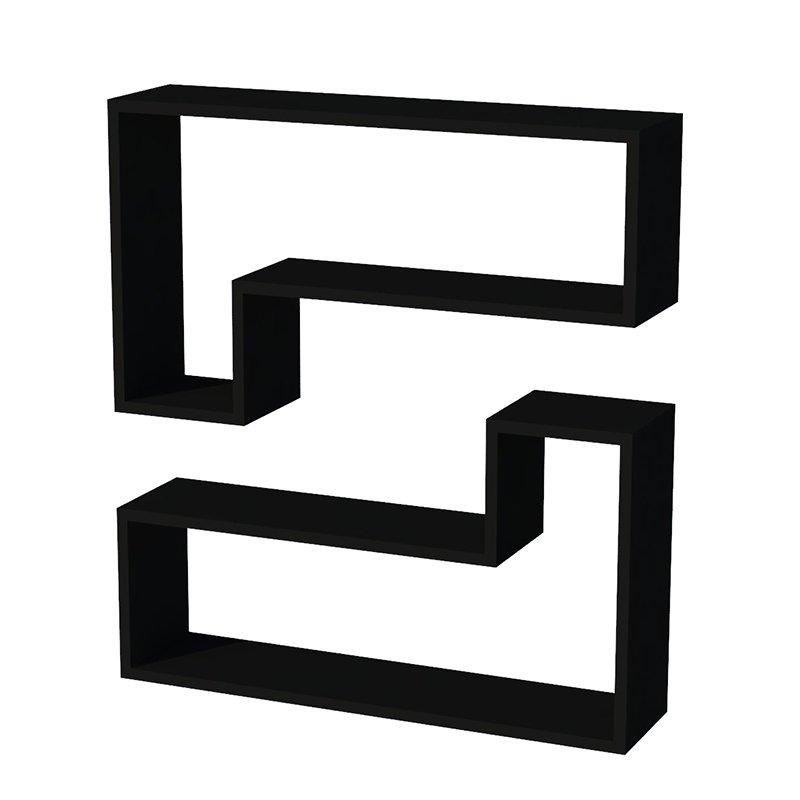 Ραφιέρα τοίχου Ozy μαύρη με 2 ράφια 83,6x43,6x19,5