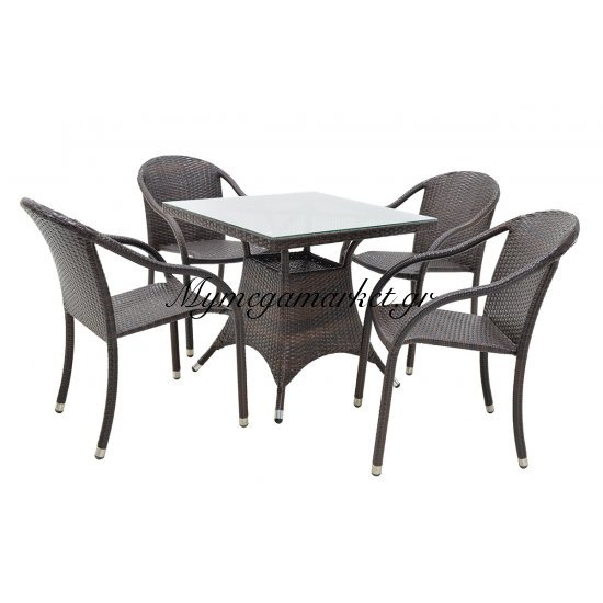 Σετ τραπεζαρία κήπου 5τμχ S-55 αλουμινίου χρώμα cappuccino με πλέξη wicker 80X80x74εκ Στην κατηγορία Τραπεζαρίες κήπου με καρέκλες | Mymegamarket.gr