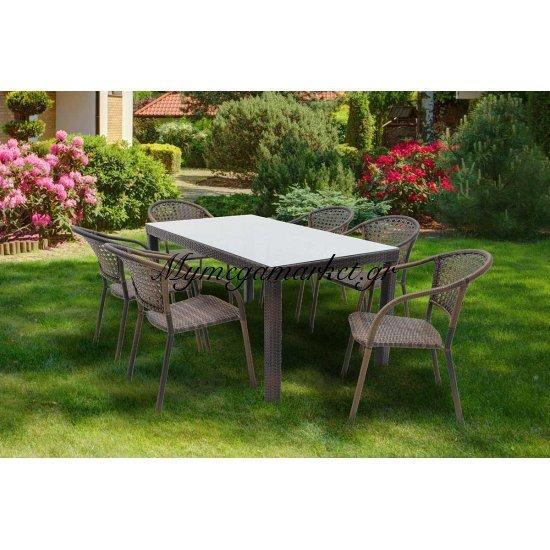 Σετ τραπεζαρία κήπου 7τμχ S-52 αλουμινίου χρώμα cappuccino με πλέξη wicker 160x90x74εκ Στην κατηγορία Τραπεζαρίες κήπου με καρέκλες | Mymegamarket.gr
