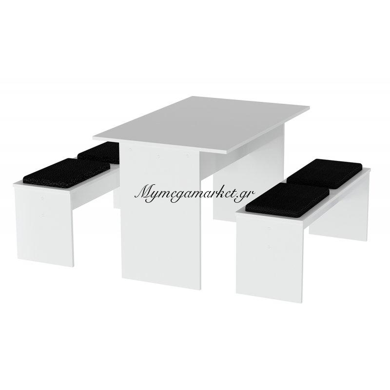 Σετ τραπεζαρίας ADORIS 3 τεμαχίων σε χρώμα λευκό