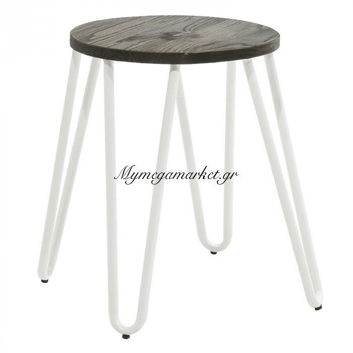 Σκαμπώ Bella μεταλλικό χρώμα λευκό | Mymegamarket.gr