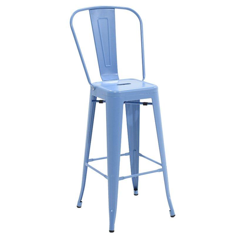 Σκαμπώ μπαρ Utopia με πλάτη μεταλλικό χρώμα μπλε