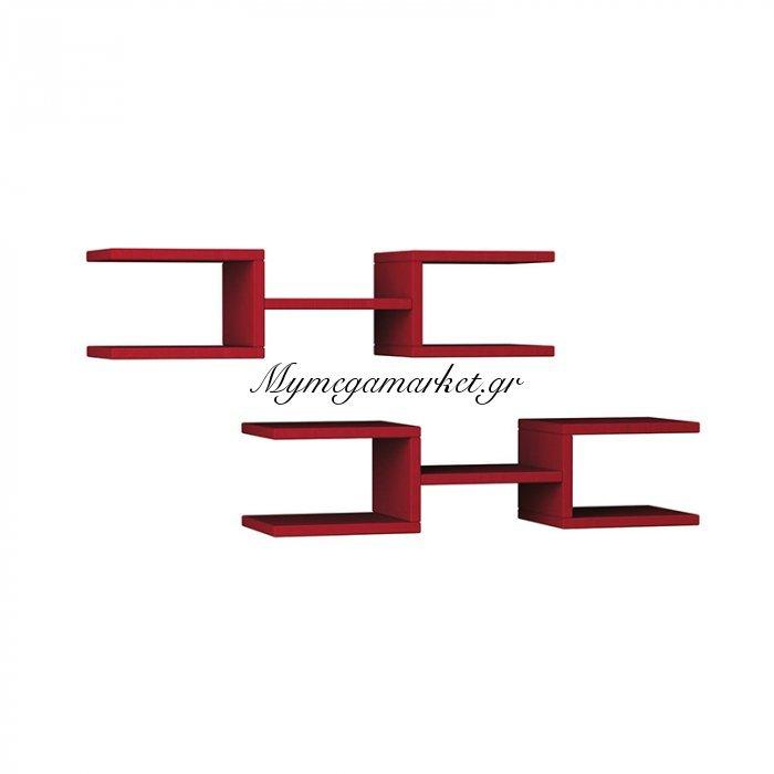 Σύνθεση δύο ραφιέρων Crab χρώμα σκούρο κόκκινο 75x22x17,5εκ | Mymegamarket.gr