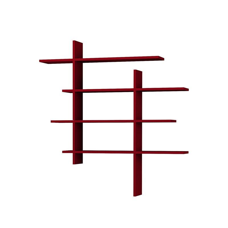 Σύνθεση ραφιών Cizgi No 1 χρώμα σκούρο κόκκινο 120x20x125εκ