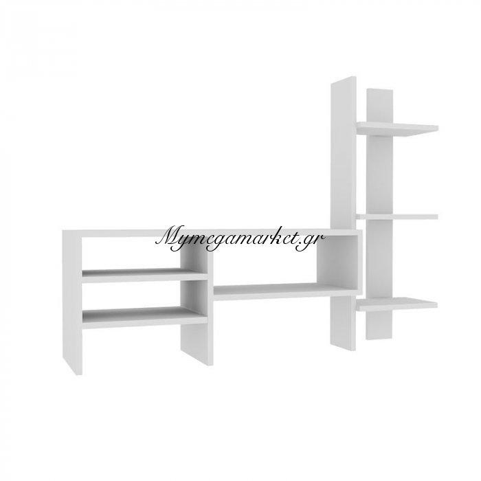 Σύνθεση σαλονιού Anil σε χρώμα λευκό 120x30x90 | Mymegamarket.gr