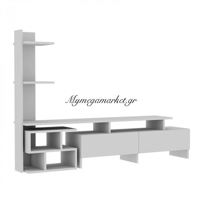Σύνθεση σαλονιού Bahar χρώμα λευκό 170x30x90 | Mymegamarket.gr