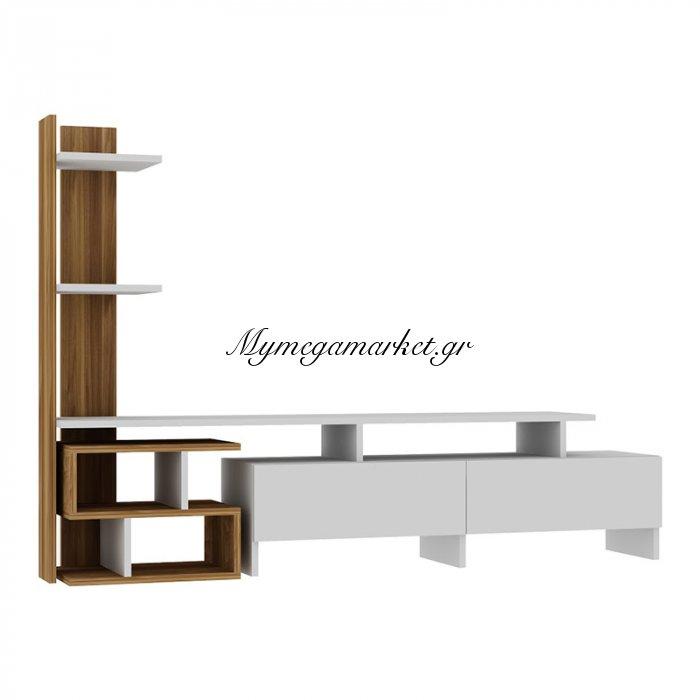 Σύνθεση σαλονιού Bahar χρώμα λευκό-walnut 170x30x90 | Mymegamarket.gr