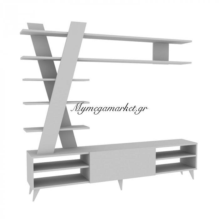 Σύνθεση σαλονιού Isik χρώμα λευκό 180x31x162 | Mymegamarket.gr