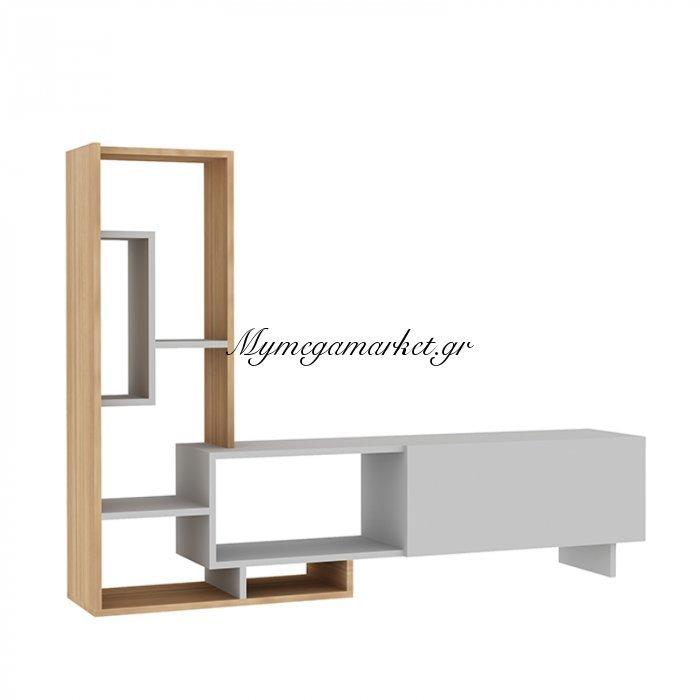 Σύνθεση σαλονιού Pegai χρώμα λευκό - teak 160x29,5x120εκ | Mymegamarket.gr