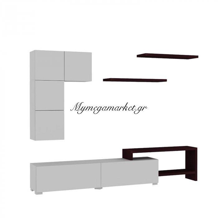 Σύνθεση σαλονιού Platin χρώμα λευκό-wenge 220x30x42 | Mymegamarket.gr