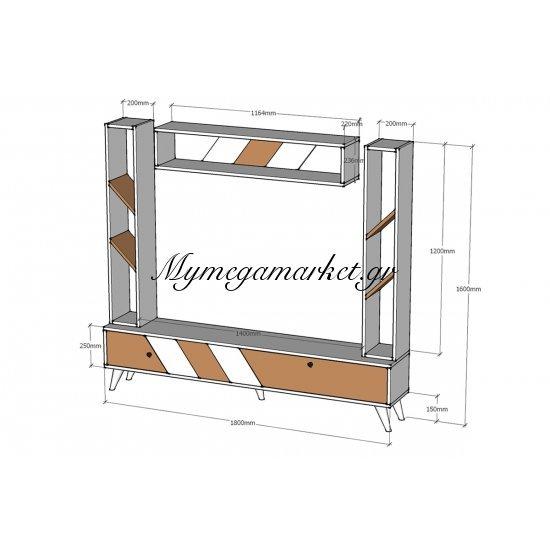 Σύνθεση σαλονιού Rile TV λευκό-sonoma 180x30x160 Στην κατηγορία Συνθέσεις σαλονιού | Mymegamarket.gr