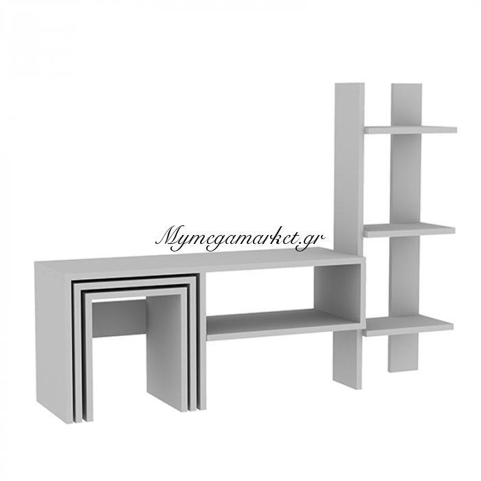 Σύνθεση σαλονιού Zigo χρώμα λευκό 120x29,5x90εκ | Mymegamarket.gr