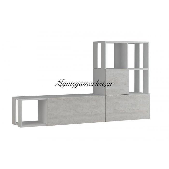 Σύνθεση TV Guda σε λευκό - antique λευκό χρώμα 160x31,5x92εκ | Mymegamarket.gr
