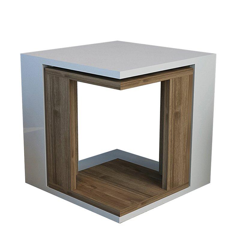 Τραπεζάκι σαλονιού Cubic Zigon λευκό-καρυδί 40x40x40