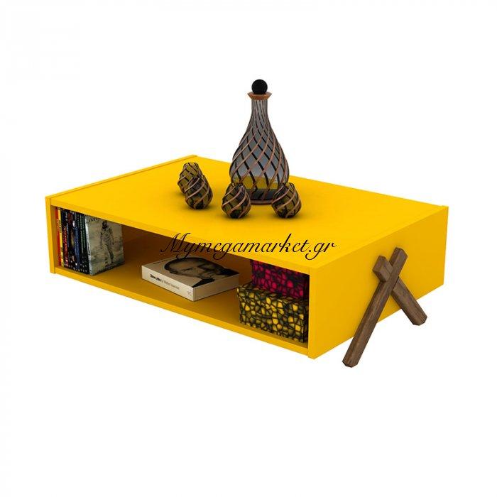 Τραπεζάκι σαλονιού KIPP σε χρώμα κίτρινο με καρυδί λεπτομέρειες 93,5x60,5x28,5εκ | Mymegamarket.gr