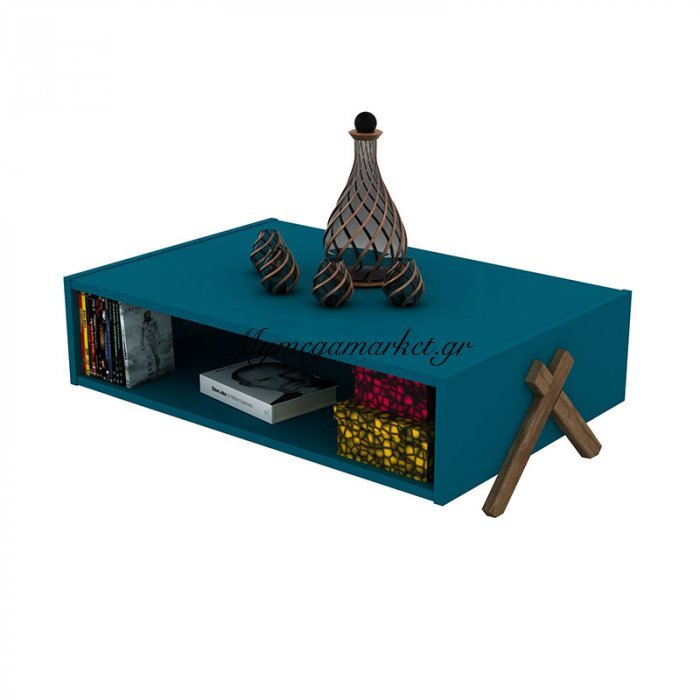 Τραπεζάκι σαλονιού KIPP σε χρώμα πετρόλ με καρυδί λεπτομέρειες 93,5x60,5x28,5εκ | Mymegamarket.gr