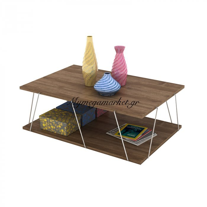 Τραπεζάκι σαλονιού TARS σε χρώμα καρυδί με λεπτομέρειες χρωμίου 90x60x30,5εκ | Mymegamarket.gr