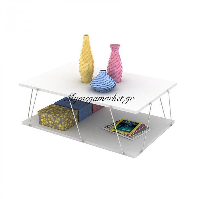Τραπεζάκι σαλονιού TARS σε χρώμα λευκό με λεπτομέρειες χρωμίου 90x60x30,5εκ | Mymegamarket.gr