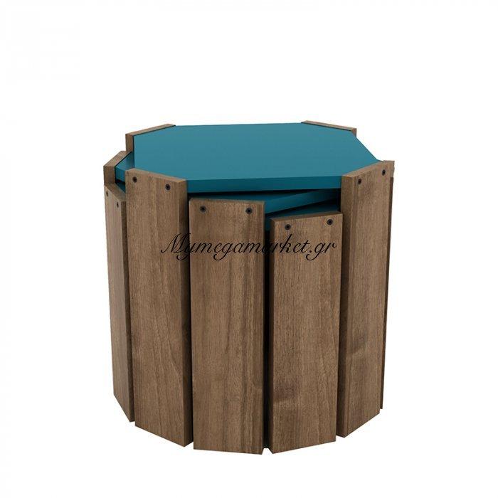 Τραπεζάκια ζιγκόν HANSEL σε χρώμα καρυδί με πετρόλ επιφάνεια 44,5x44,5x41εκ | Mymegamarket.gr