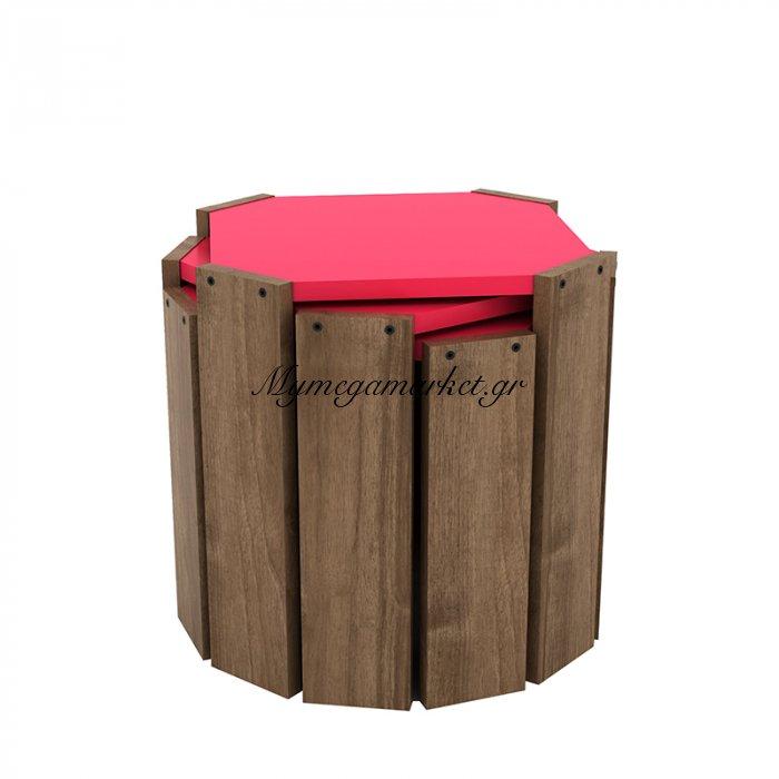 Τραπεζάκια ζιγκόν HANSEL σε χρώμα καρυδί με ροζ επιφάνεια 44,5x44,5x41εκ | Mymegamarket.gr