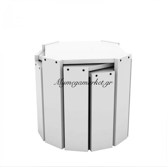 Τραπεζάκια ζιγκόν HANSEL σε χρώμα λευκό 44,5x44,5x41εκ | Mymegamarket.gr