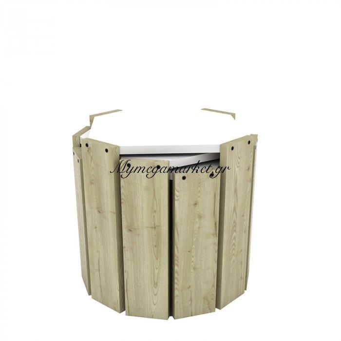 Τραπεζάκια ζιγκόν HANSEL σε χρώμα oak με λευκή επιφάνεια 44,5x44,5x41εκ | Mymegamarket.gr