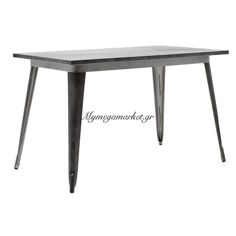 Τραπέζι μεταλλικό Utopia χρώμα μαύρο ασημί 120x70x75,5