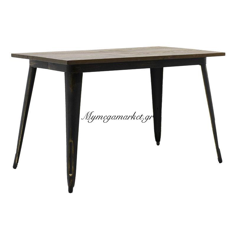 Τραπέζι μεταλλικό Utopia με ξύλινη επιφάνεια χρώμα anti-black 120x70x75,5