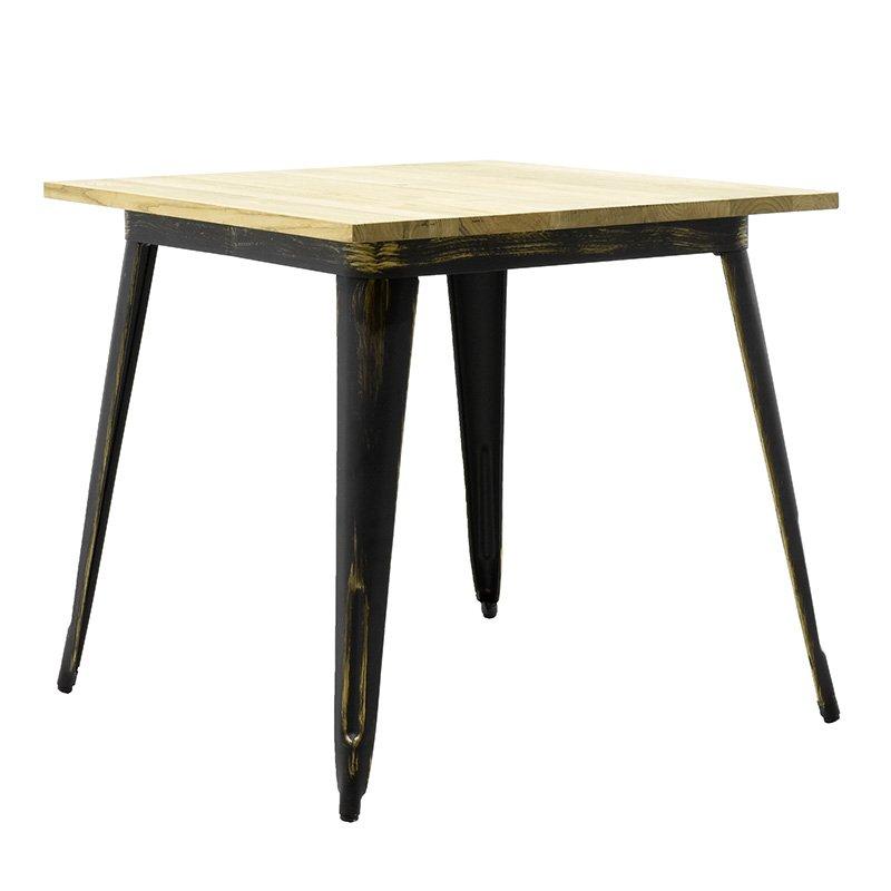 Τραπέζι μεταλλικό Utopia με ξύλινη επιφάνεια χρώμα anti-black 80x80x75,5