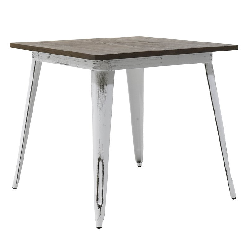 Τραπέζι μεταλλικό Utopia με ξύλινη επιφάνεια χρώμα anti-white 80x80x75,5
