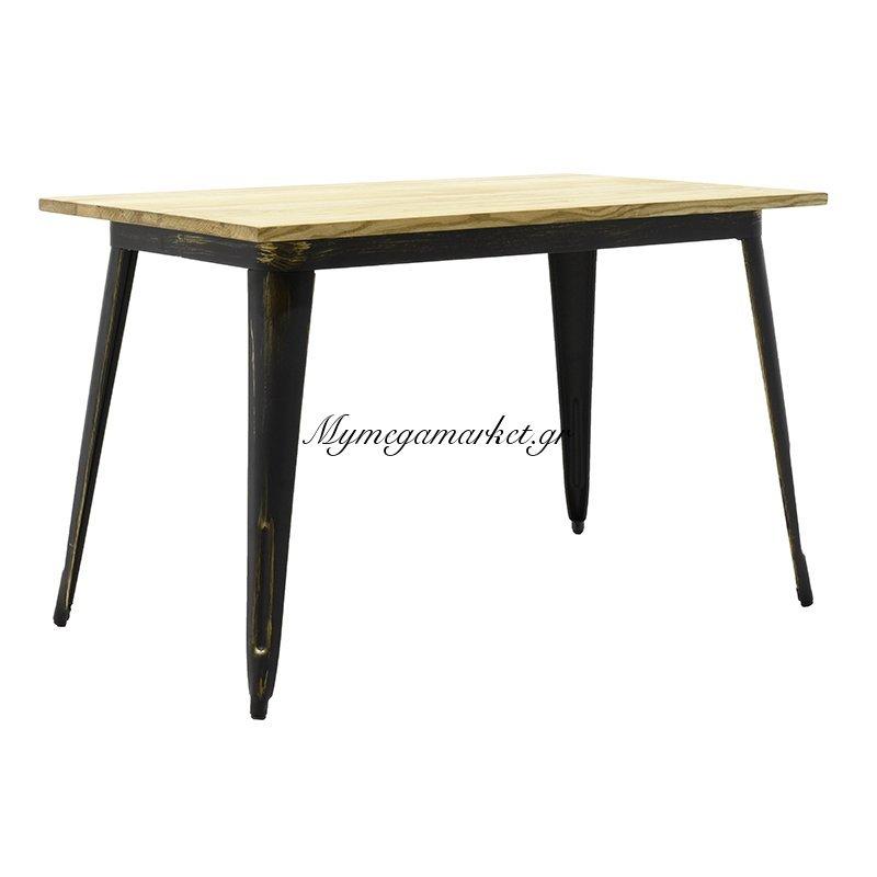 Τραπέζι μεταλλικό Utopia με ξύλινη επιφάνεια φυσικό χρώμα, anti-black 120x70x75,5