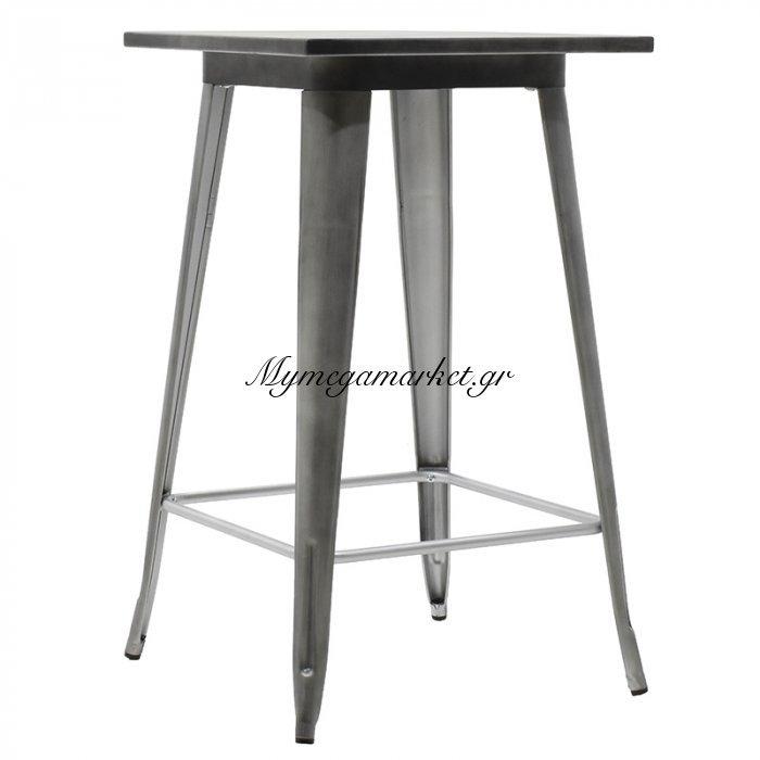 Τραπέζι μπαρ μεταλλικό Utopia χρώμα μαύρο ασημί 60x60x101   Mymegamarket.gr