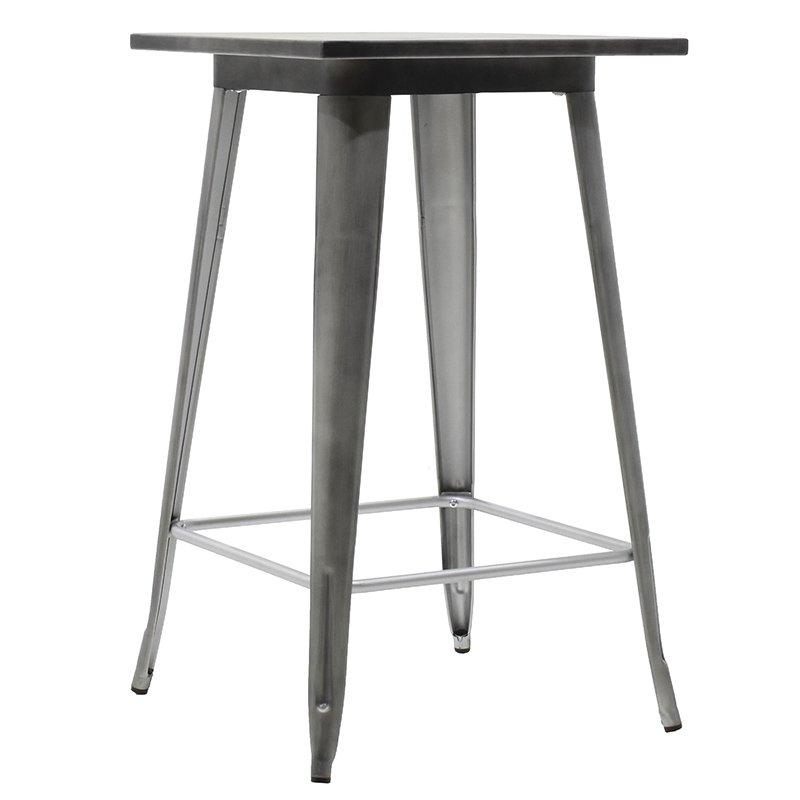 Τραπέζι μπαρ μεταλλικό Utopia χρώμα μαύρο ασημί 60x60x101