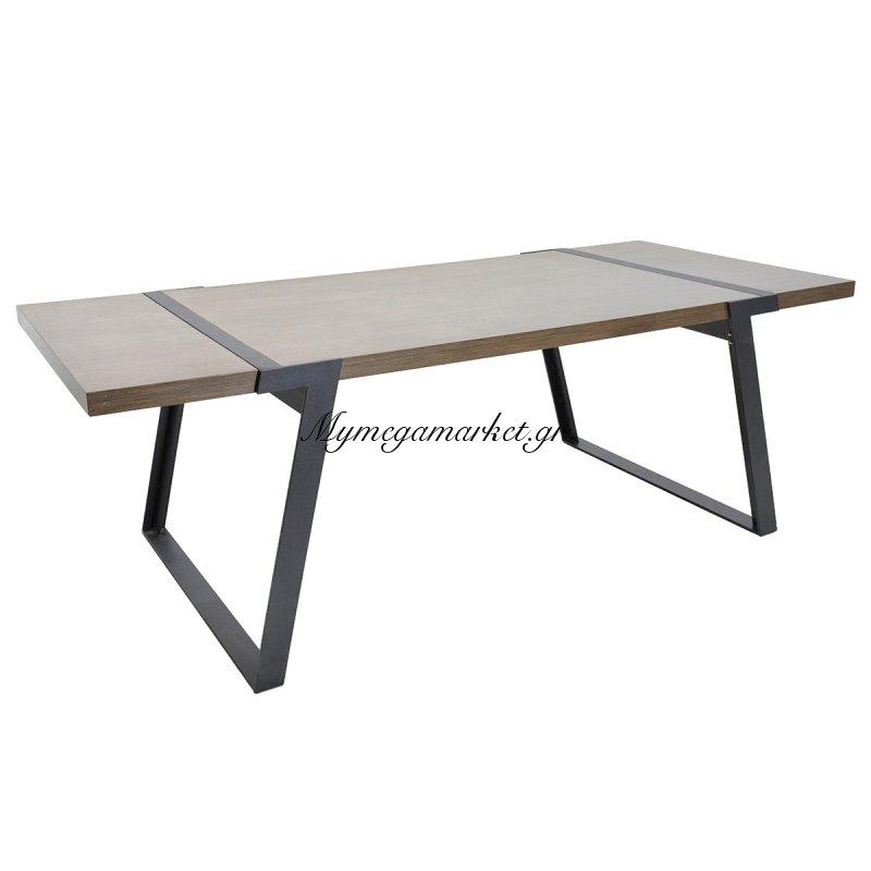 Τραπέζι πολυτελείας MOON μεταλλικά πόδια χρώμα μαύρο με επιφάνεια mdf χρώμα cassia 220x100x74εκ