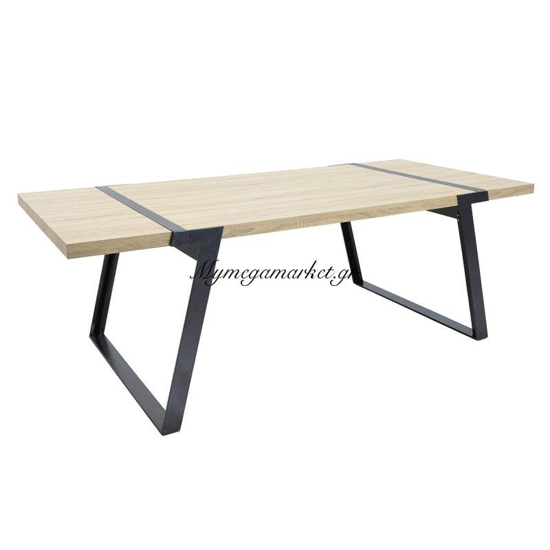 Τραπέζι πολυτελείας MOON μεταλλικά πόδια χρώμα μαύρο με επιφάνεια mdf χρώμα δρυς 220x100x74εκ