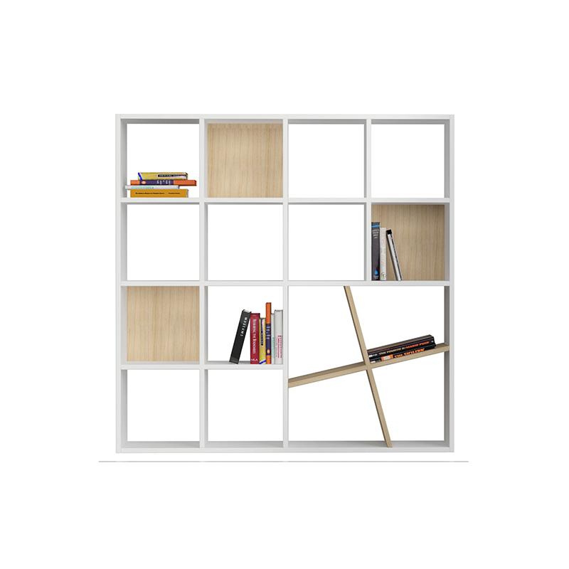 Βιβλιοθηκη Honey χρώμα λευκό - φυσικό 125x24x125εκ