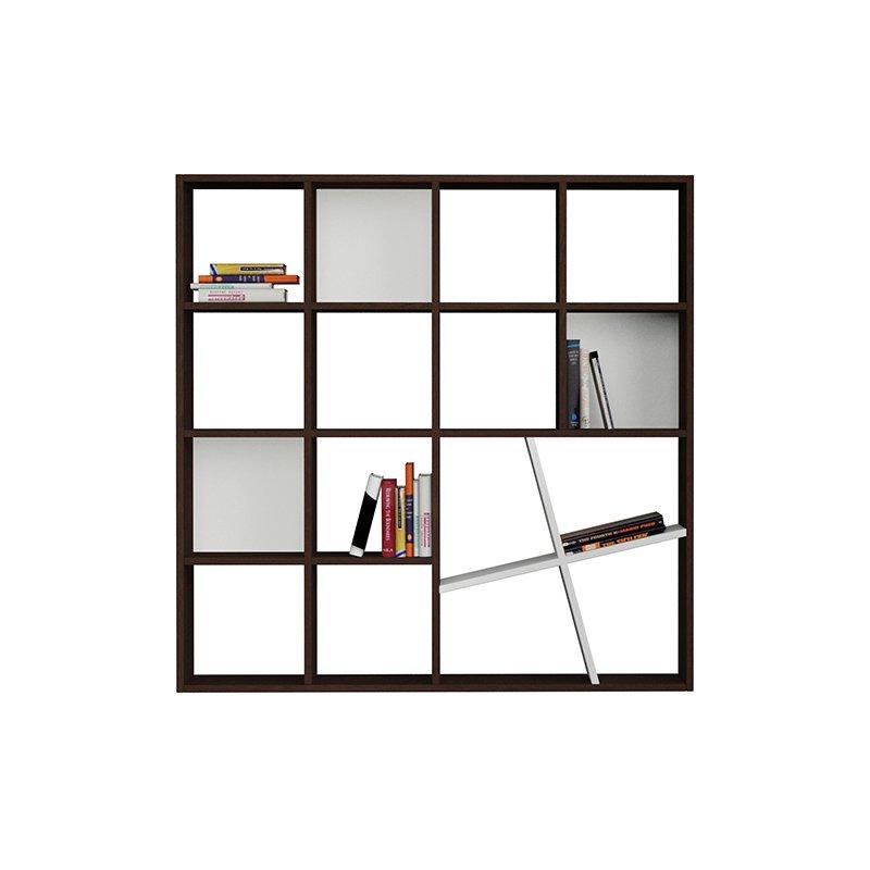Βιβλιοθηκη Honey χρώμα wenge - λευκό 125x24x125εκ