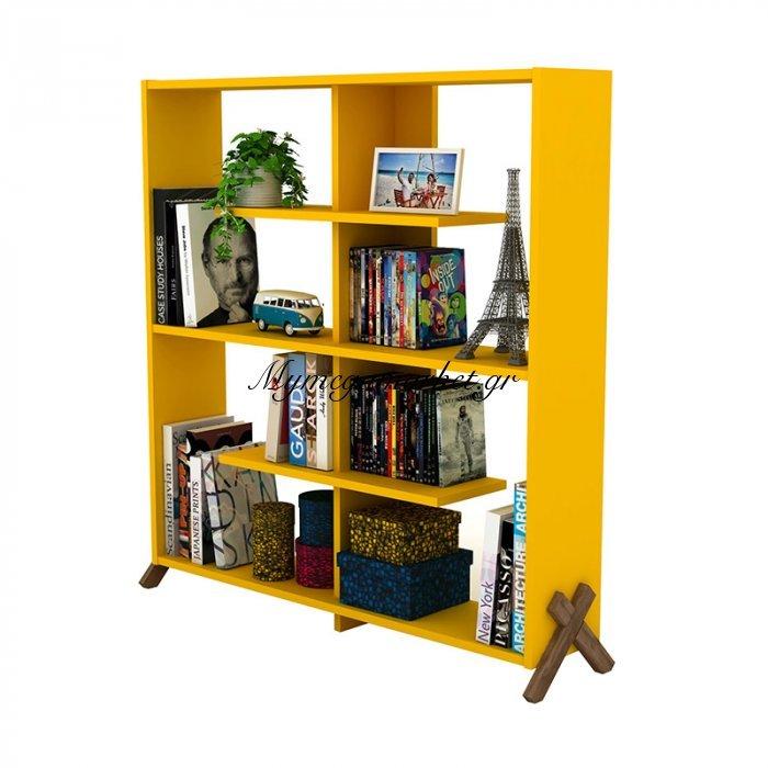 Βιβλιοθήκη KIPP σε χρώμα κίτρινο με καρυδί λεπτομέρειες 113x28x115εκ | Mymegamarket.gr