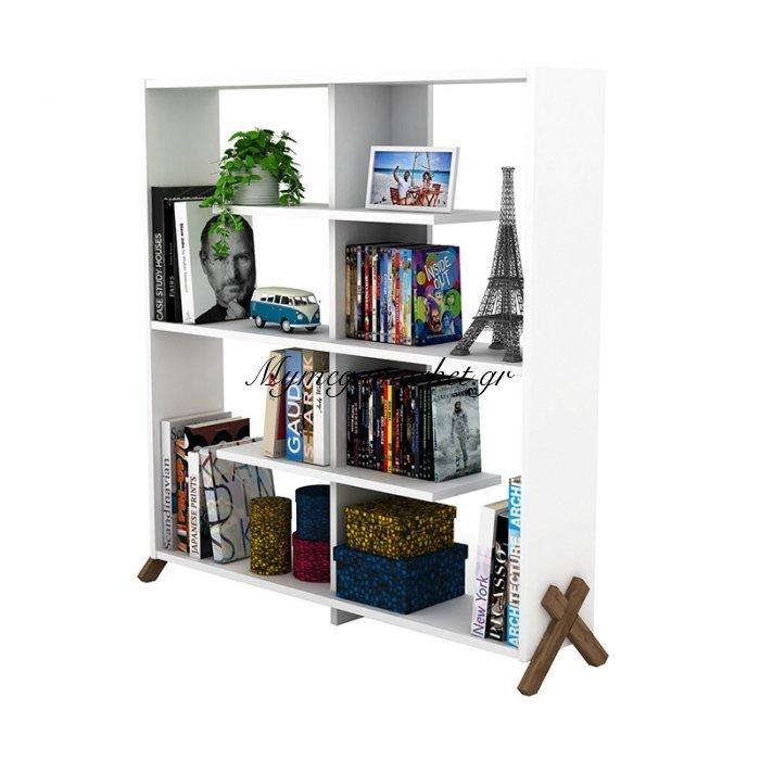Βιβλιοθήκη KIPP σε χρώμα λευκό με καρυδί λεπτομέρειες 113x28x115εκ | Mymegamarket.gr