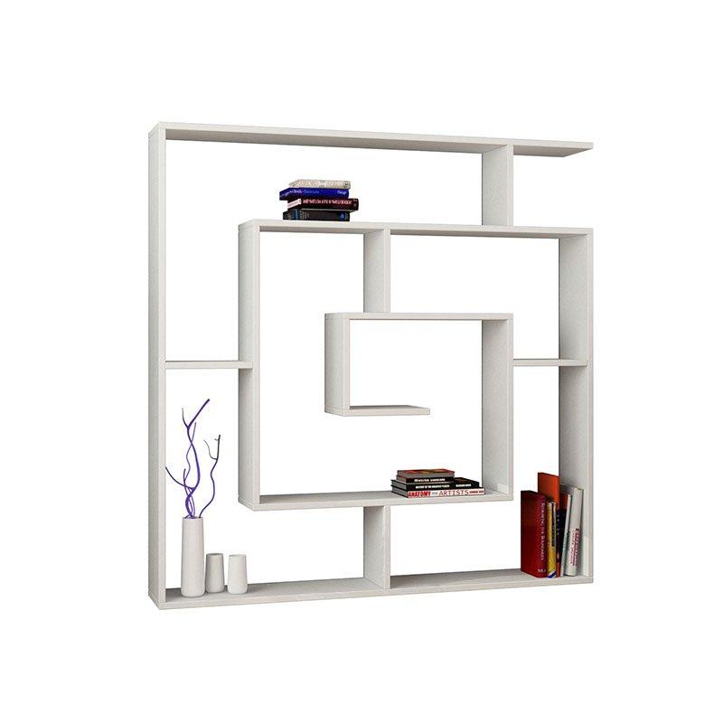 Βιβλιοθήκη Labirent χρώμα λευκό 125x22x125εκ