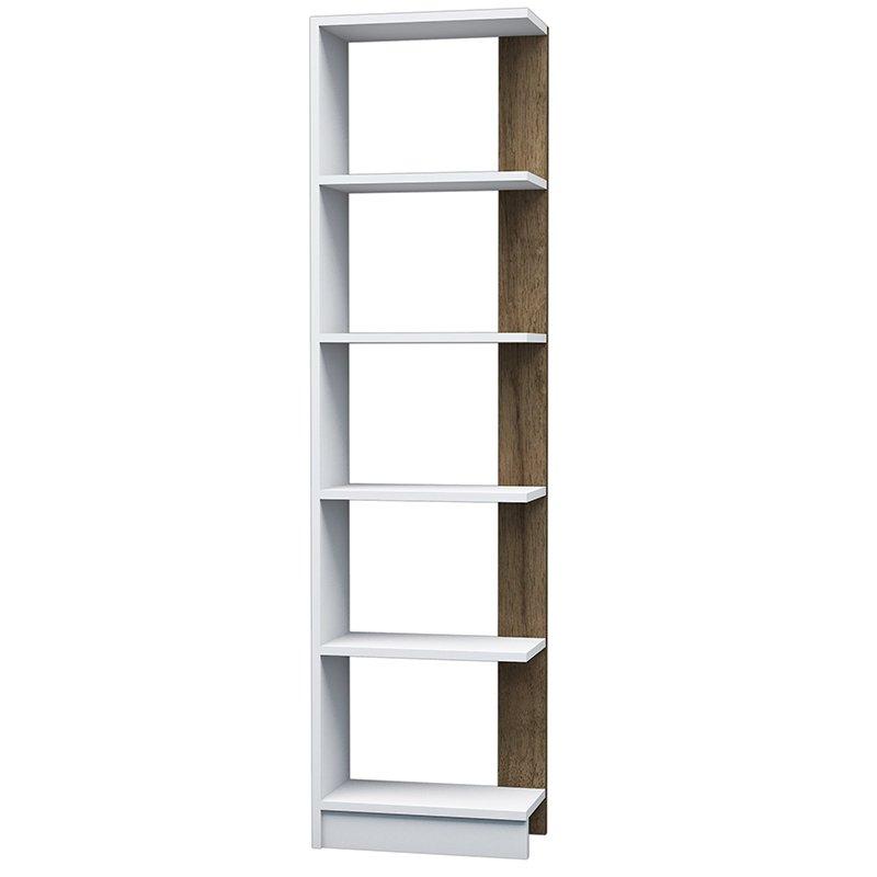Βιβλιοθήκη Pupis λευκό-καρυδί 45x22x170